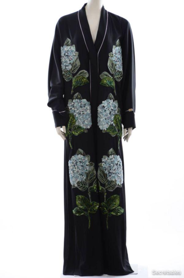 Dolce & Gabbana Women Embroidery Ortensias Abaya