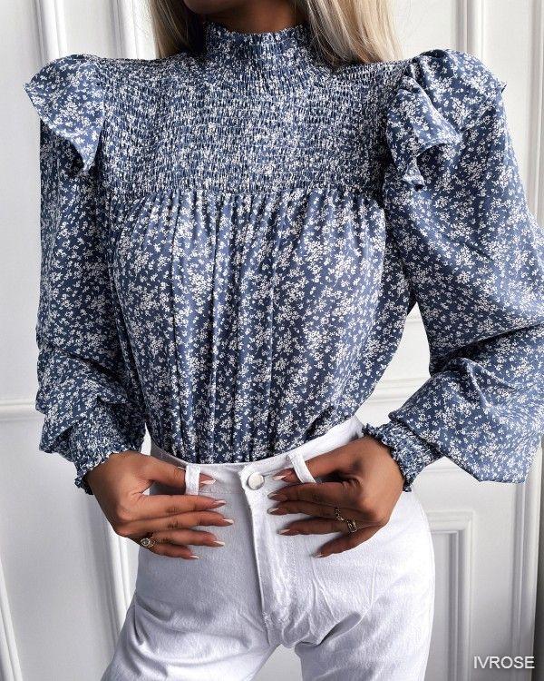 Floral Print Shirred Ruffles Lantern Sleeve Top