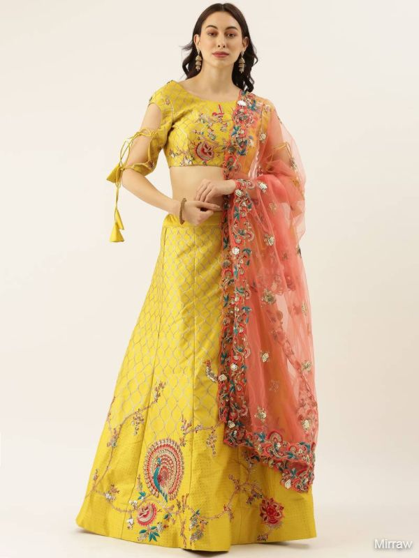 LIME GREEN COLOUR SATIN SILK A-LINE SEMI-STITCHED LEHENGA & UNSTITCHED BLOUSE WITH DUPATTA