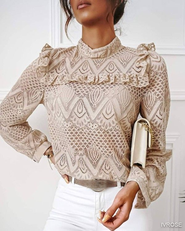 Lace Frill Hem Hollow Out Long Sleeve Women Top