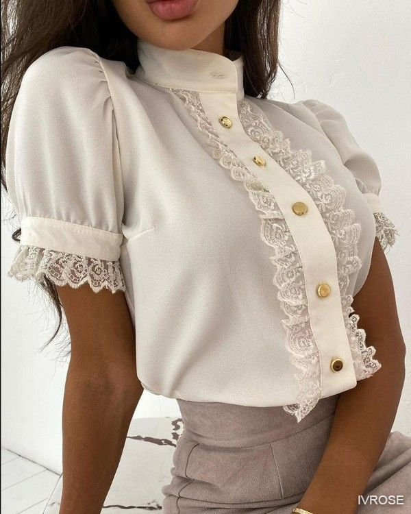 Lace Patch Button Front High Neck Top