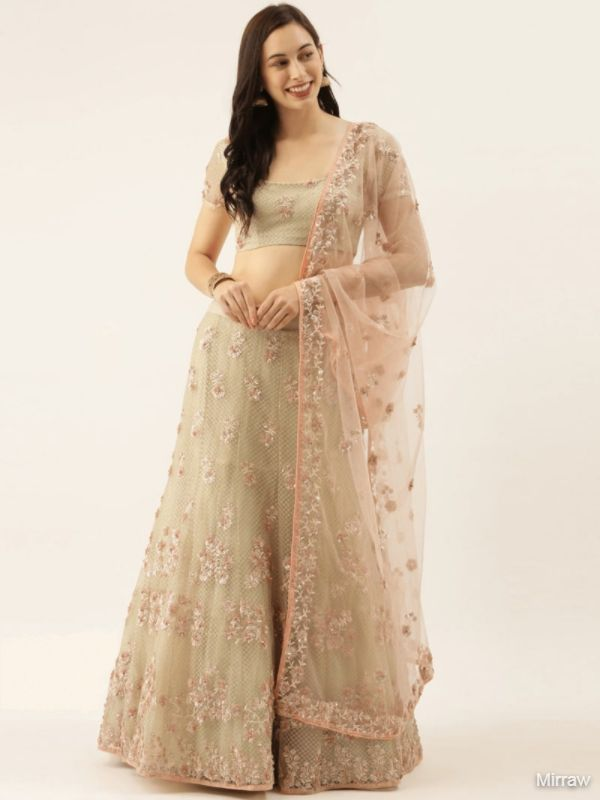 PEACH EMBROIDERED NET SEMI-STITCHED LEHENGA & UNSTITCHED BLOUSE WITH DUPATTA
