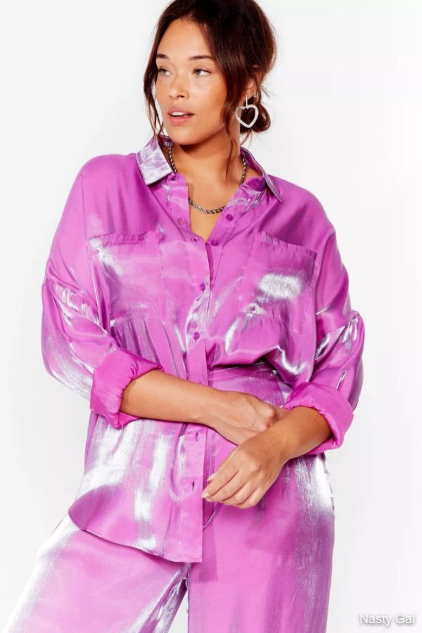 Plus Size High Shine Oversized Satin Shirt