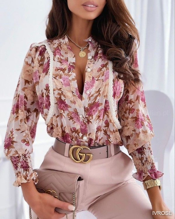 Shirred Flounce Sleeve Button Up Top Floral Print Long Sleeve Blouse
