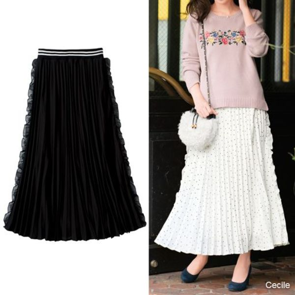 Side frilled pleated skirt