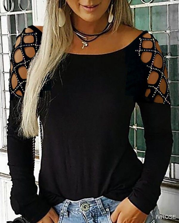 Solid Colored Long Sleeve Cut Out Round Neck Tops Rhinestone Basic Hollow Basic Top