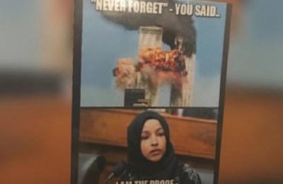 Ilhan Omar, WV GOP Day, anti-muslim poster, Muslim, US, World Trade Center