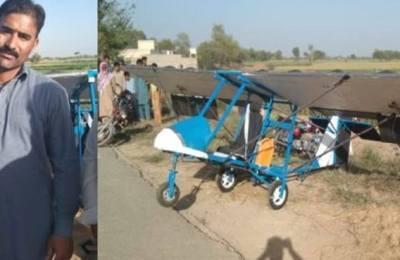 Man, homemade aircraft, Pakpattan, Muhammad Fayyaz