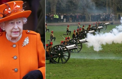 Gun salute, Queen Elizabeth, birthday