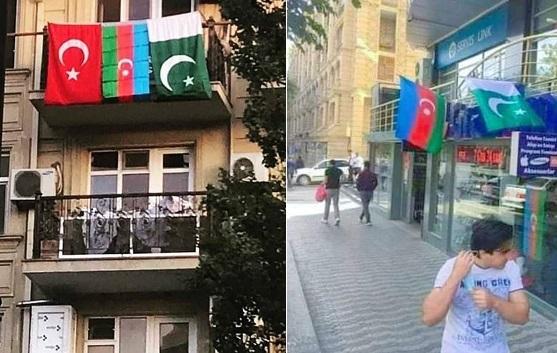 Pakistani flags, Azerbaijan, Armenia