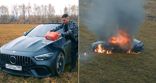 Russian YouTuber, Mikhail Litvin, burn, Mercedes