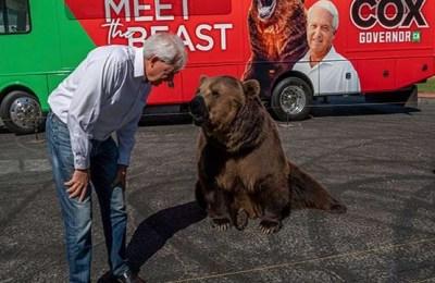 California governor, bear, rally