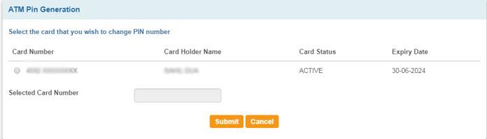 ATM Card pin generate