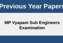 MP VYAPAM Sub Engineers Old Question Papers With Answer key