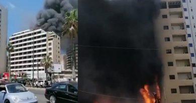 حريق في فندق في الروشة في بيروت ..