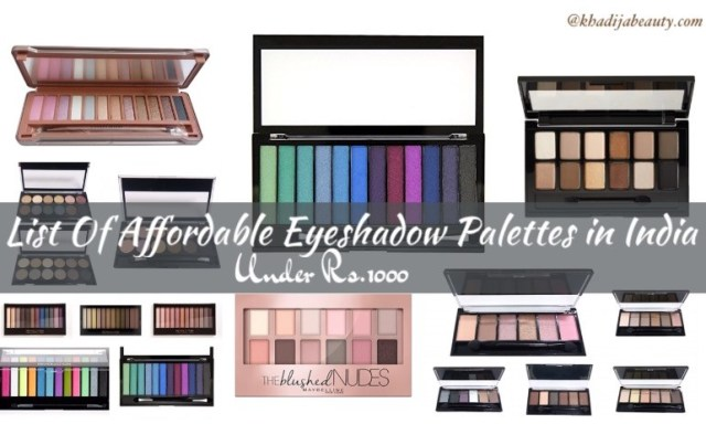 List of affordable eyeshadow palttes in India- under Rs.1000