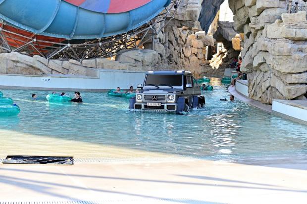 Richard Hammond driving the Mercedes Benz G63 6x6 through Yas Waterworld in Abu Dhabi