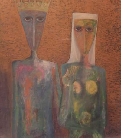 Ahmad Morsi, Wedding Portrait, 1958. Oil on wood, 89 x 101 cm. image courtesy of Sharjah Art Foundation.