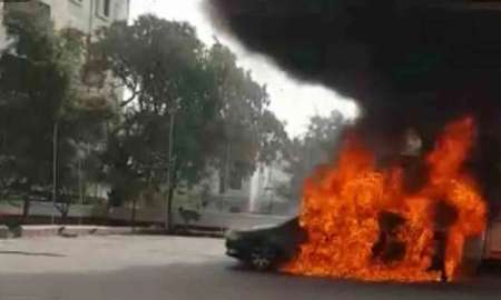 Black Sedan Bursts Into Flames At Petrol Pump In Hyderabad, India