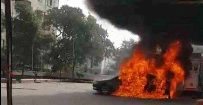 Black Sedan Bursts Into Flames At Petrol Pump In Hyderabad, India