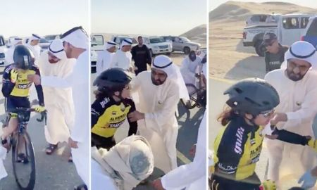 Sheikh Mohammed helps Cyclist Anan Al Amri, after a Fall