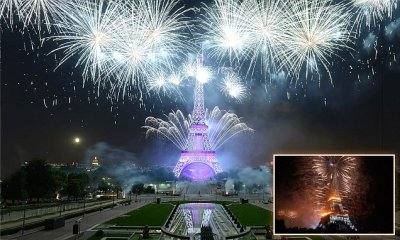 Fireworks at the Eiffel Tower in Paris France