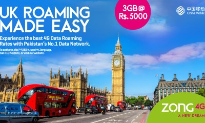 Zong 4G offers unbeatable Prepaid data roaming while travelling to United Kingdom