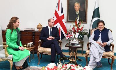 Prince William, Duke of Cambridge and Catherine, Duchess of Cambridge meet Prime Minister of Pakistan Imran Khan at his official residence, October 15, 2019 in Islamabad, Pakistan.