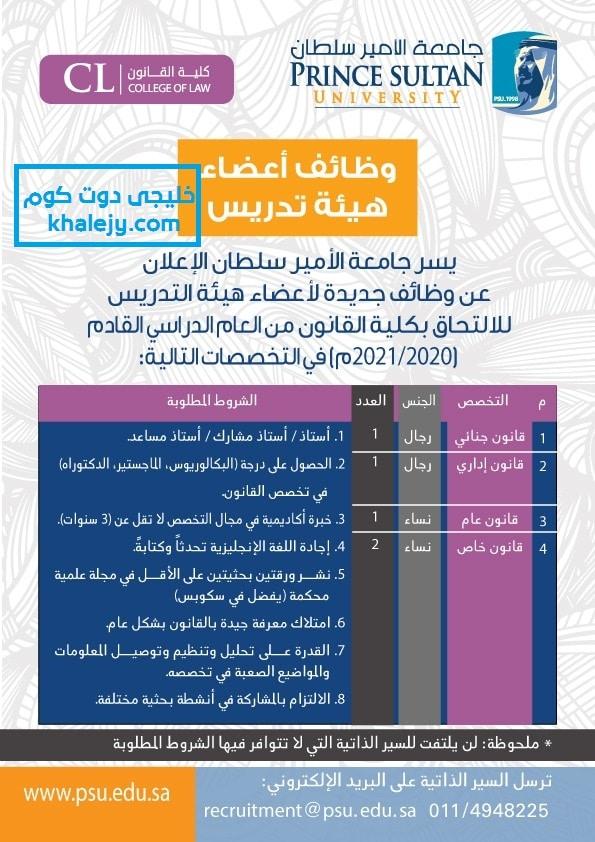 جامعة الأمير سلطان توظيف 2020