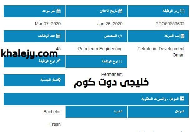 وظائف شركة تنمية نفط عمان 2020