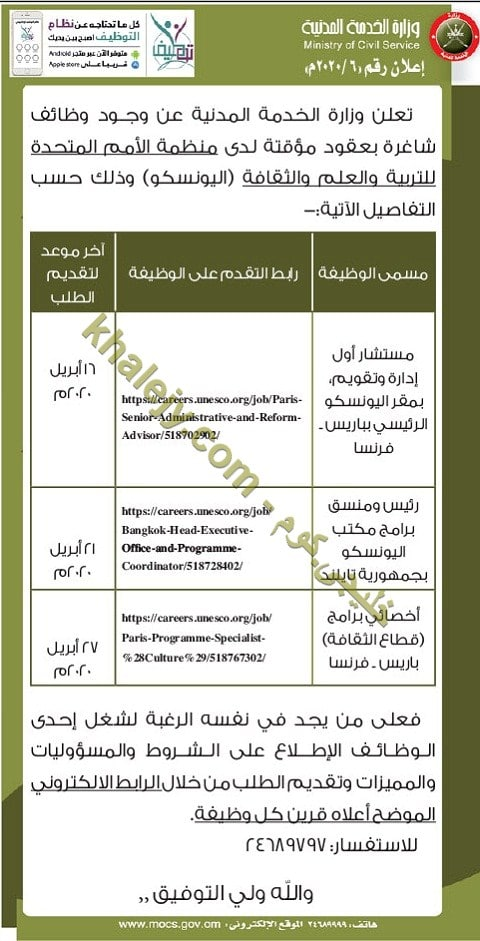 وزارة الخدمة المدنية سلطنة عمان وظائف 2020 منظمة اليونسكو