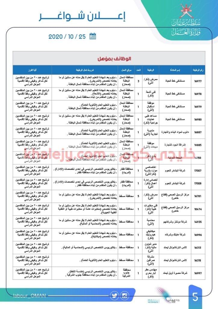 وزارة العمل وظائف للعمانيين