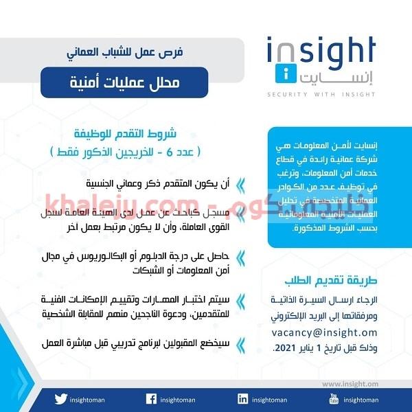 فرص عمل للشباب العماني لدي شركة إنسايت لأمن المعلومات