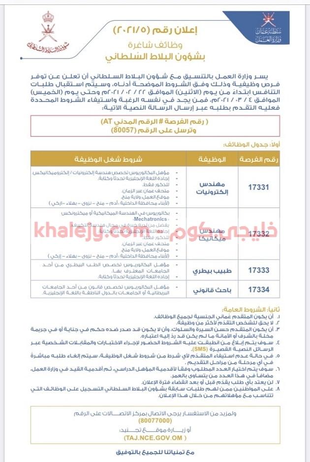 وظائف شؤون البلاط السلطاني 2021 للذكور والإناث