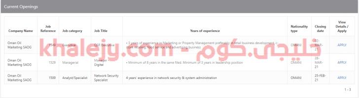 وظائف شركة نفط عمان للتسويق