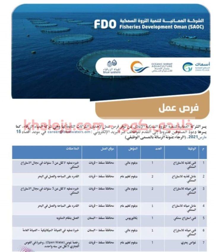 وظائف الشركة العمانية لتنمية الثروة السمكية بسلطنة عمان scaled