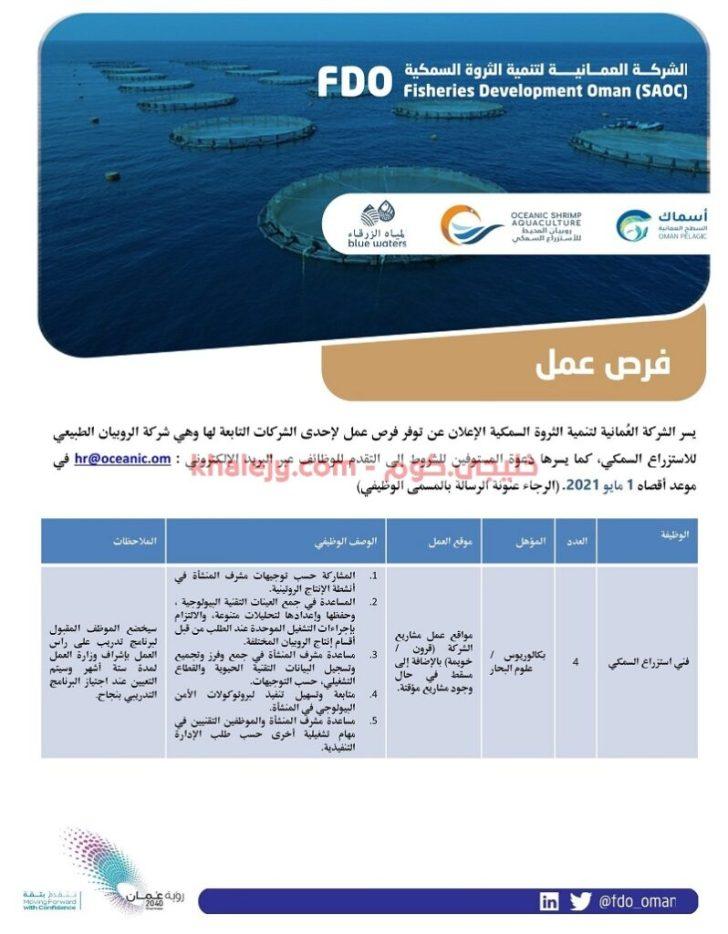 وظائف الشركة العمانية لتنمية الثروة السمكية في سلطنة عمان