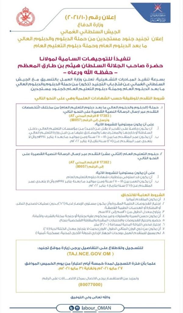 شروط التجنيد في الجيش السلطاني العماني 2021