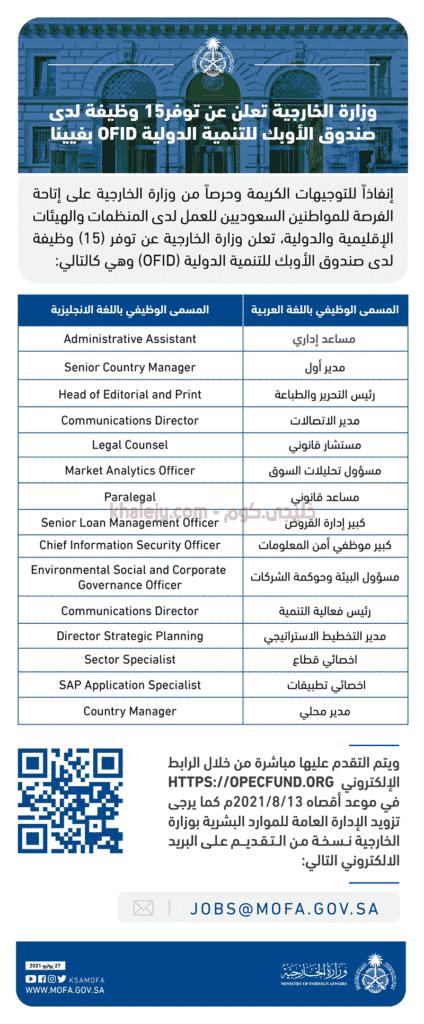وزارة الخارجية تعلن 15 وظيفة شاغرة في صندوق الأوبك بفيينا 1443