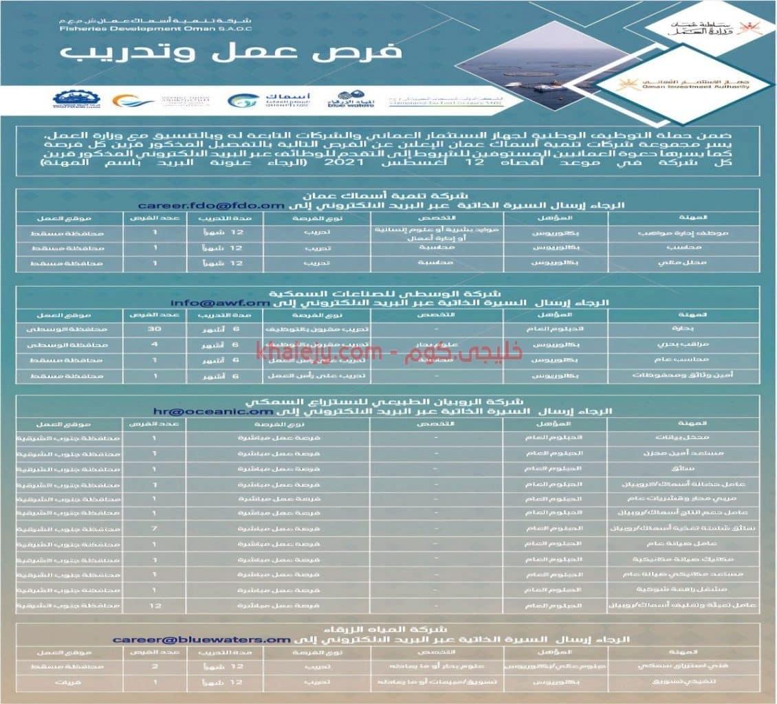 تنمية اسماك عمان تعلن عن تدريب مقرون بالتوظيف وتوظيف مباشر