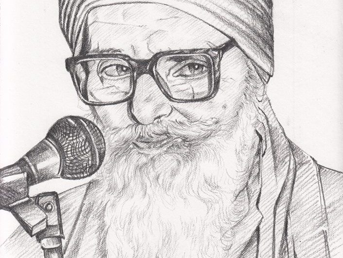 Pencil sketch of bapu surat singh khalsa khalsa force