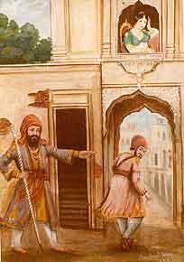 On entering the divaan he payed his respects to Guru Sahib and Guru Jee looked at Bhai Joga Singh