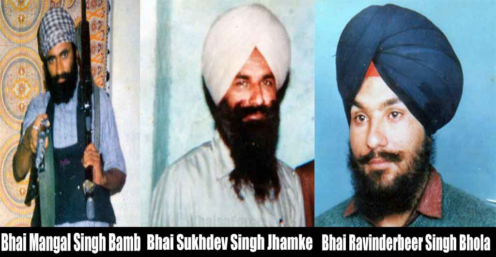 Left to Right Shaheed Bhai Mangal Singh 'Bamb' ,Shaheed Bhai Sukhdev Singh 'Jhamke' and Shaheed Bhai Ravinderbeer Singh 'Bhola' - Lt. General Khalistan Liberation Force