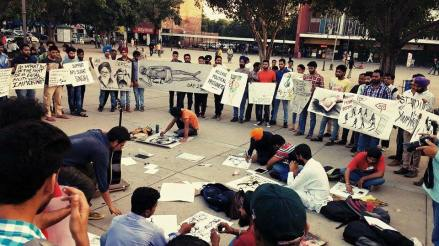Silent protest by artists in Chandigarh sector 17 in support of Bapu Surat Singh Ji Khalsa's (6)