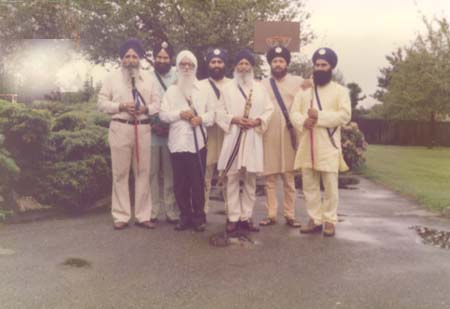Kamloops, British Columbia, Canada, 1977. The Singhs with the Khanda's on their dastars are founders of Babbar Khalsa