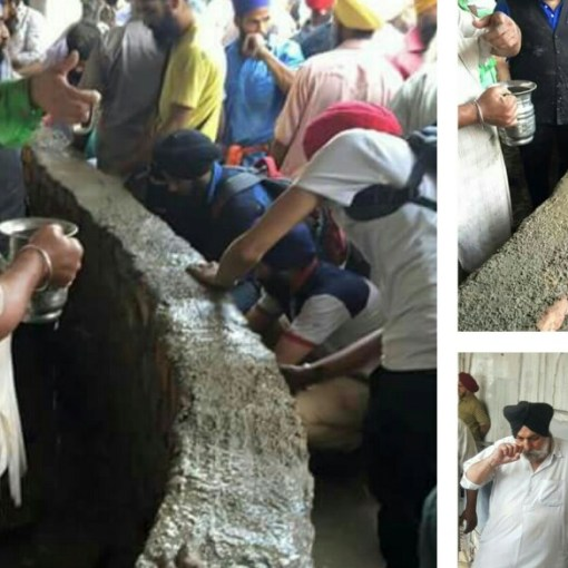 Singhs re-construct the Chabeel at Gurudwara Sees Ganj Sahib