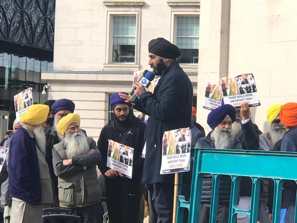 England | Mass Sikh Protest At Conservative Govt Party Conference