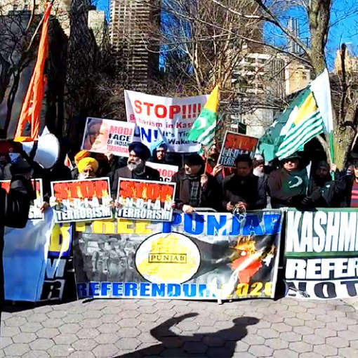 #ANTI-WAR Rally by American Sikhs & Kashmiri's against #IndianAggression   Protest in Front of UN (New York)   Demands #Referendum
