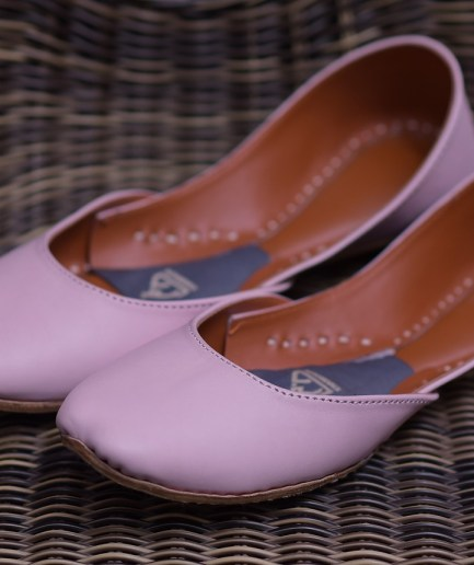 Plain Leather Khussa Baby Pink 2