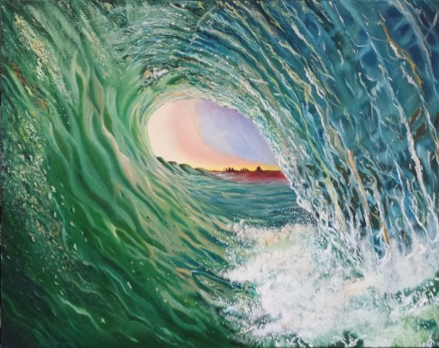 Jade Cascade. Oil on 16 X 20 inch gallery wrapped canvas.